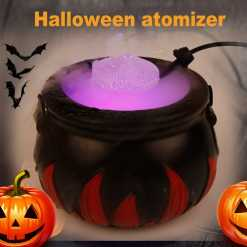 New Halloween Witch Pot Smoke Machine LED Humidifier Color Changing Party DIY Scene Layout Prank Toy Creepy Light Decorations